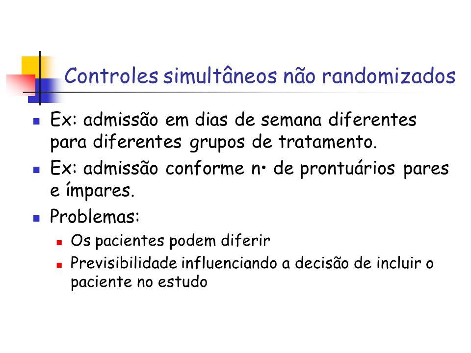 . ECR para IAM Randomisados (%)Não randomisados (%) Randomização bem ocultada N = 57 Randomização mal ocultada N = 45 N = 43 Proporção de estudos com diferenças significativas entre os tratamentos 8.824.458.1 De Chalmers et al, NEJM, (1983) 309 (22), 1358-61 Quando o ocultamento da randomização é inadequado, aumenta o risco de viés na estimativa de efetividade do tratamento.