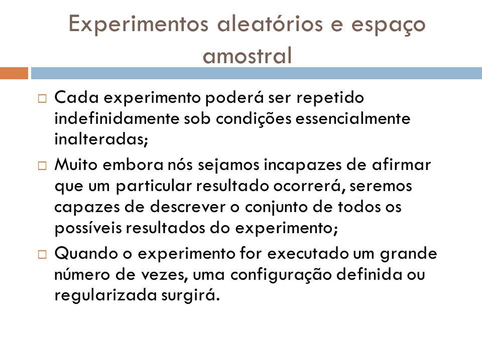 Experimentos aleatórios e espaço amostral  Cada experimento poderá ser repetido indefinidamente sob condições essencialmente inalteradas;  Muito embora nós sejamos incapazes de afirmar que um particular resultado ocorrerá, seremos capazes de descrever o conjunto de todos os possíveis resultados do experimento;  Quando o experimento for executado um grande número de vezes, uma configuração definida ou regularizada surgirá.