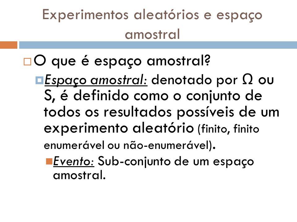 Experimentos aleatórios e espaço amostral  O que é espaço amostral.