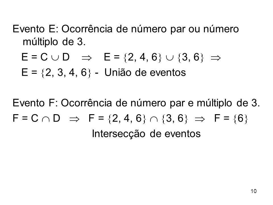 Evento E: Ocorrência de número par ou número múltiplo de 3. E = C  D  E =  2, 4, 6    3, 6   E =  2, 3, 4, 6  - União de eventos Evento F: O