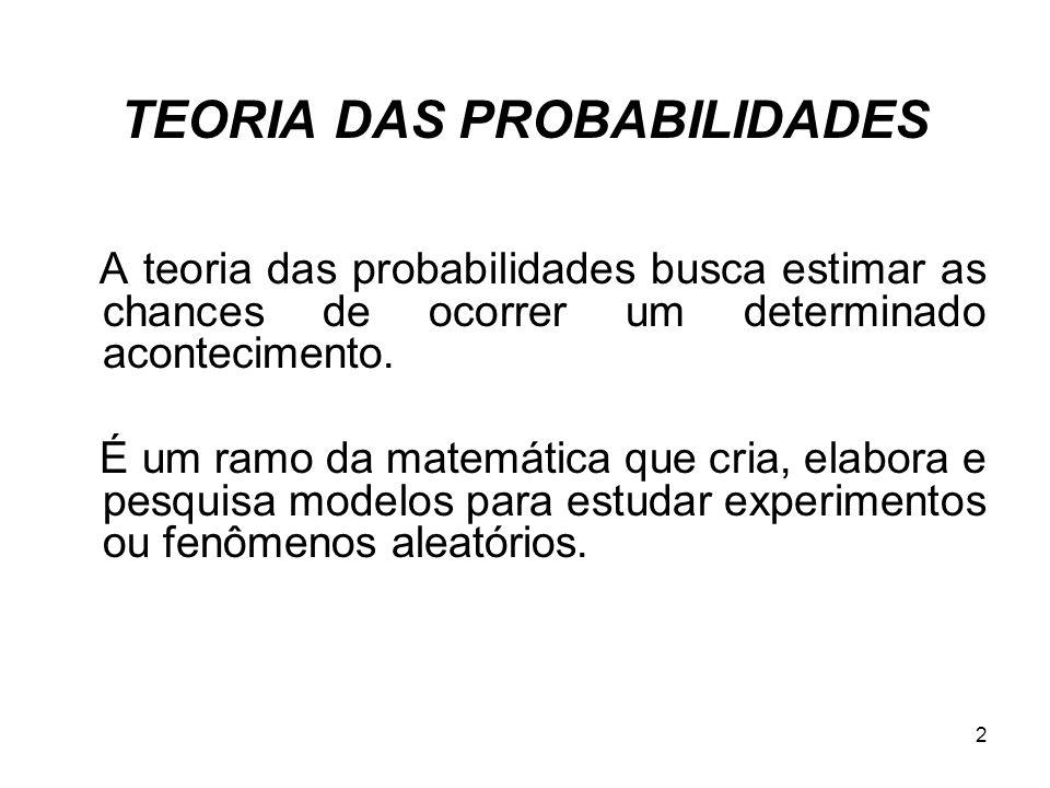 TEORIA DAS PROBABILIDADES A teoria das probabilidades busca estimar as chances de ocorrer um determinado acontecimento. É um ramo da matemática que cr