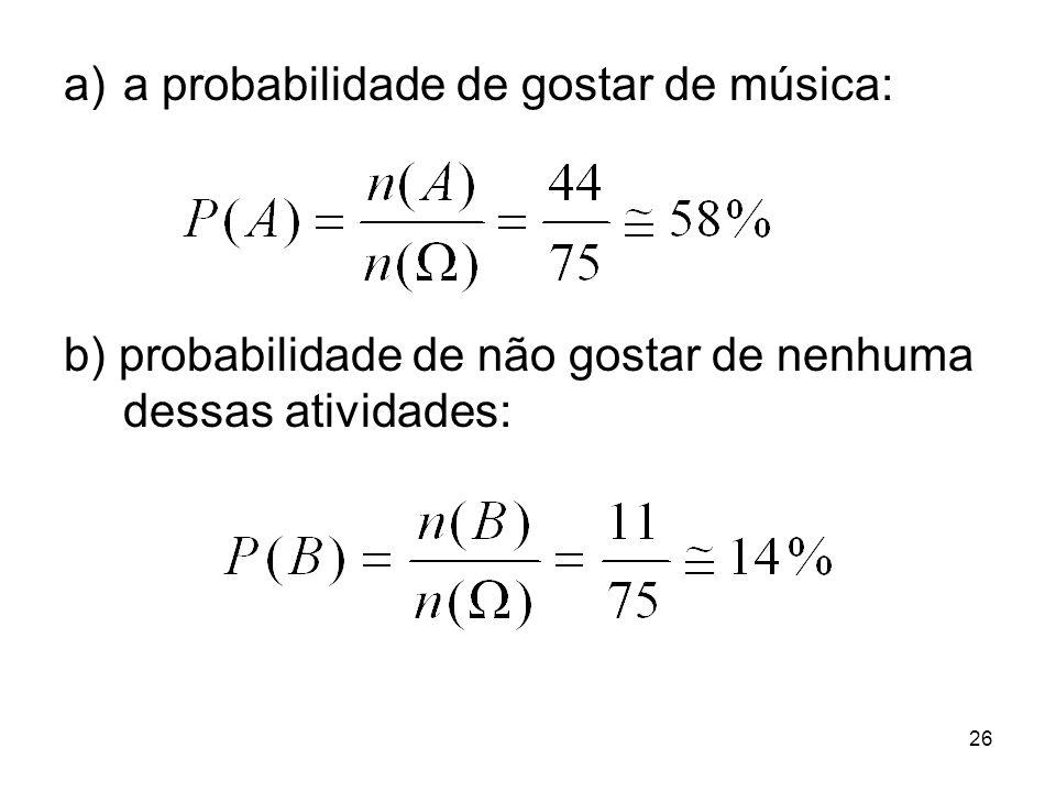 a)a probabilidade de gostar de música: b) probabilidade de não gostar de nenhuma dessas atividades: 26