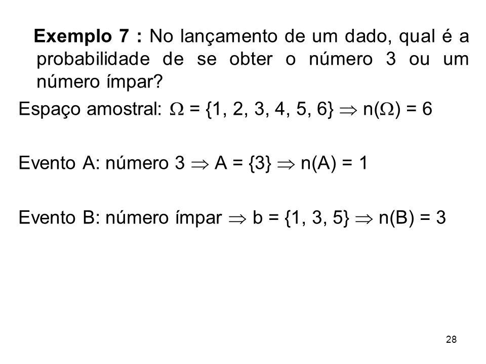 Exemplo 7 : No lançamento de um dado, qual é a probabilidade de se obter o número 3 ou um número ímpar? Espaço amostral:  = {1, 2, 3, 4, 5, 6}  n( 