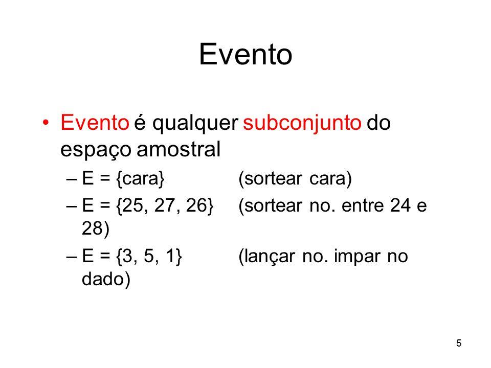 5 Evento Evento é qualquer subconjunto do espaço amostral –E = {cara} (sortear cara) –E = {25, 27, 26} (sortear no. entre 24 e 28) –E = {3, 5, 1} (lan