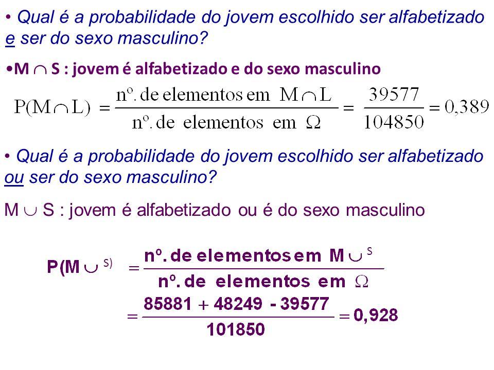 Qual é a probabilidade do jovem escolhido ser alfabetizado e ser do sexo masculino.