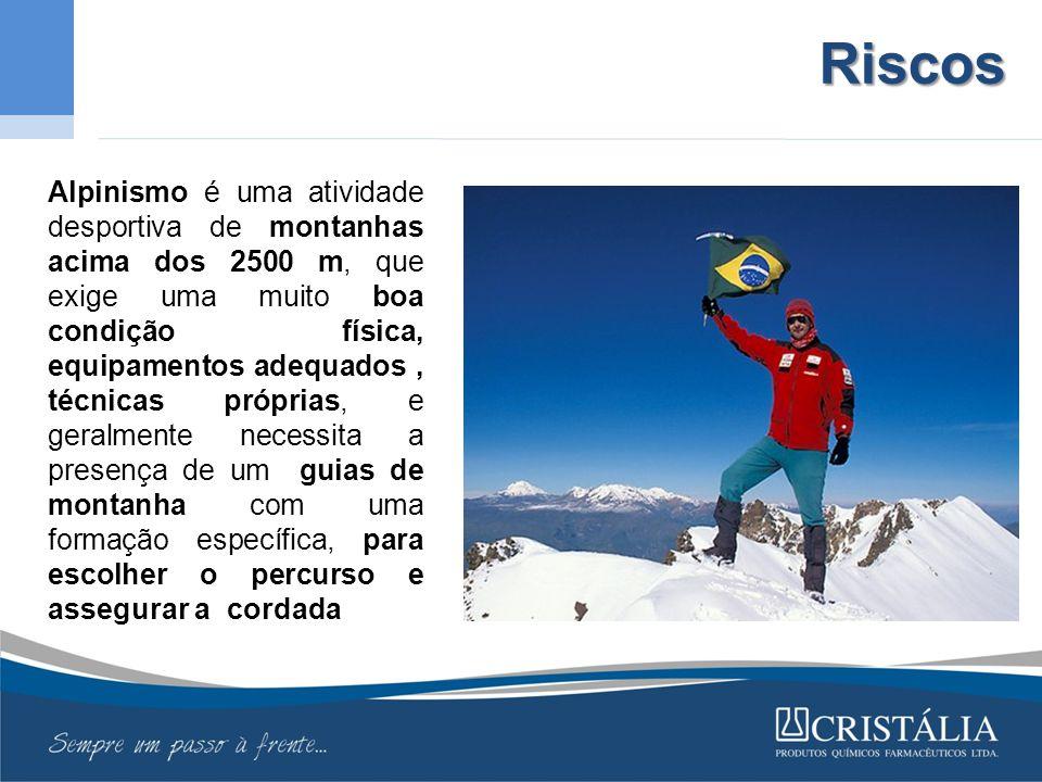 Riscos Alpinismo é uma atividade desportiva de montanhas acima dos 2500 m, que exige uma muito boa condição física, equipamentos adequados, técnicas próprias, e geralmente necessita a presença de um guias de montanha com uma formação específica, para escolher o percurso e assegurar a cordada