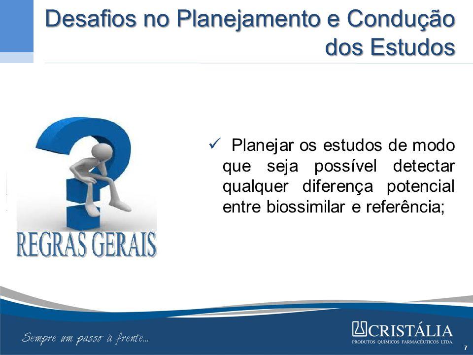 Desafios no Planejamento e Condução dos Estudos Planejar os estudos de modo que seja possível detectar qualquer diferença potencial entre biossimilar e referência; 7