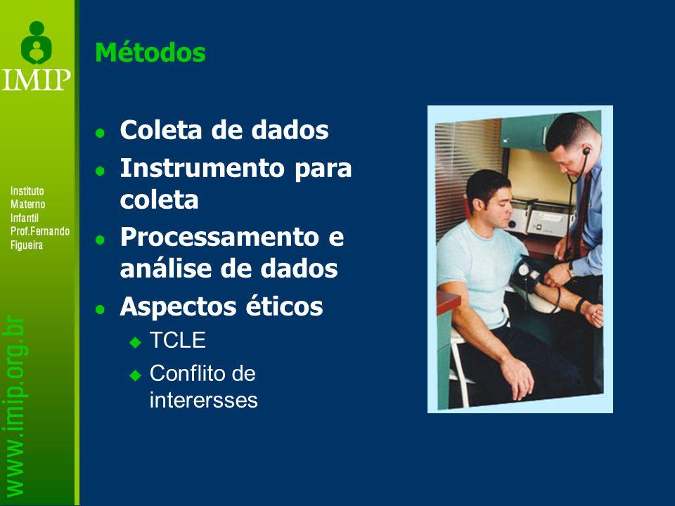Métodos Coleta de dados Instrumento para coleta Processamento e análise de dados Aspectos éticos  TCLE  Conflito de interersses