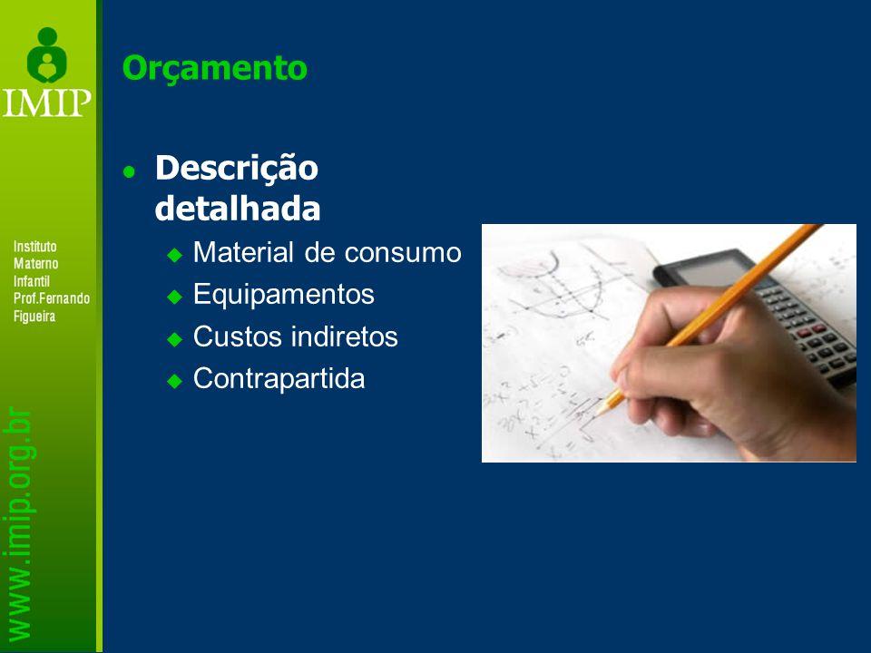 Orçamento Descrição detalhada  Material de consumo  Equipamentos  Custos indiretos  Contrapartida