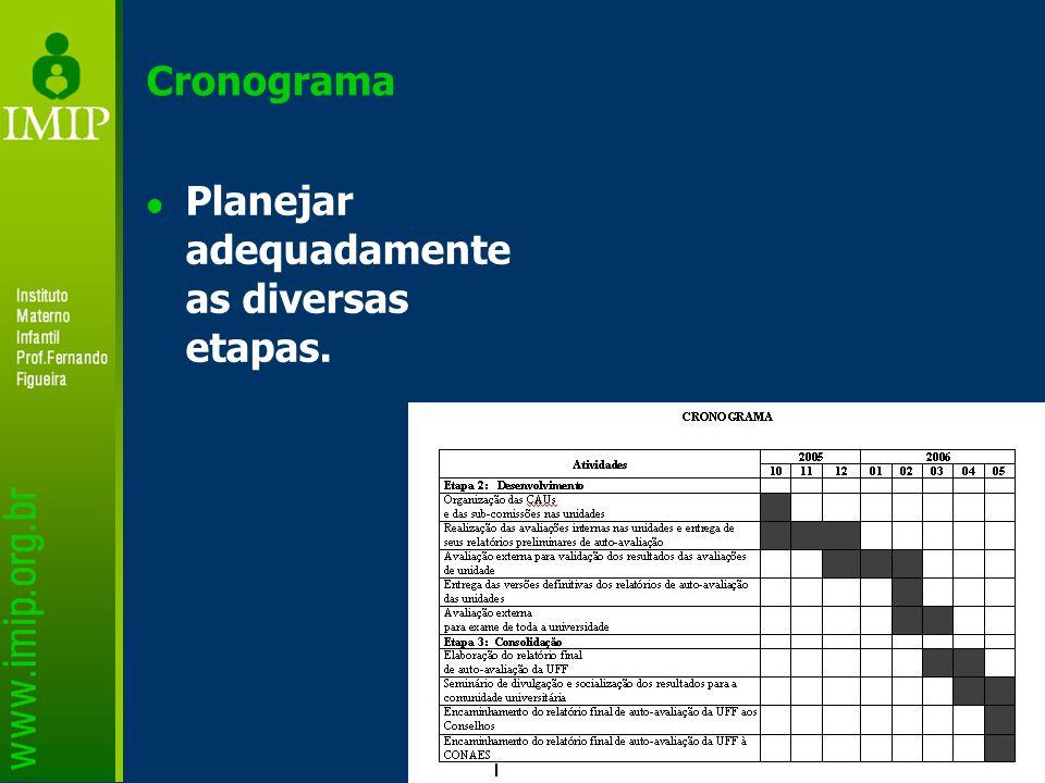 Cronograma Planejar adequadamente as diversas etapas.