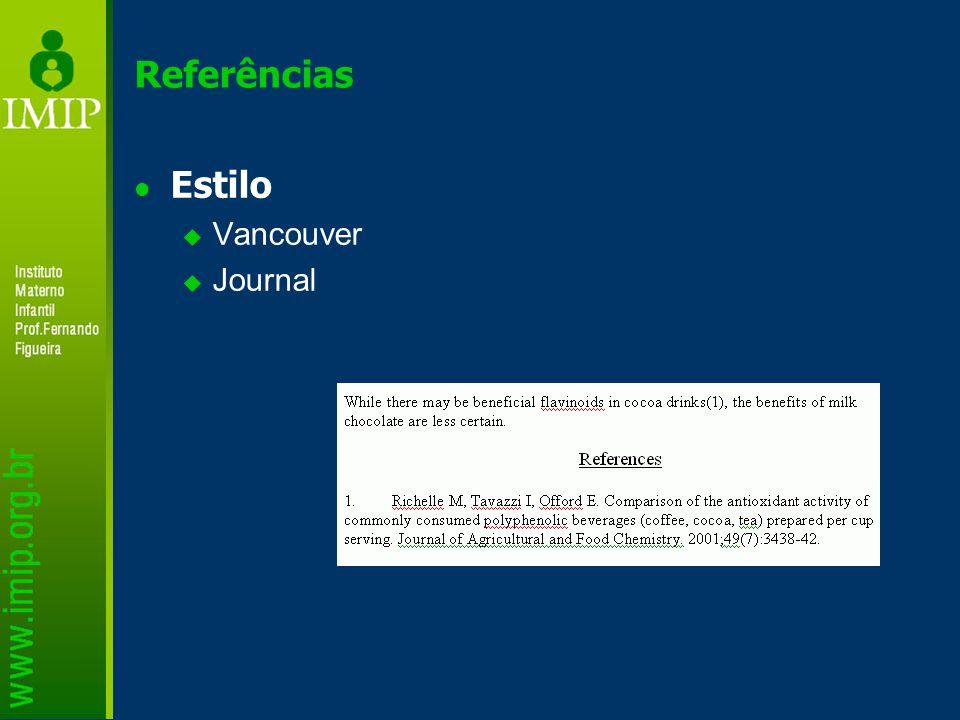 Referências Estilo  Vancouver  Journal