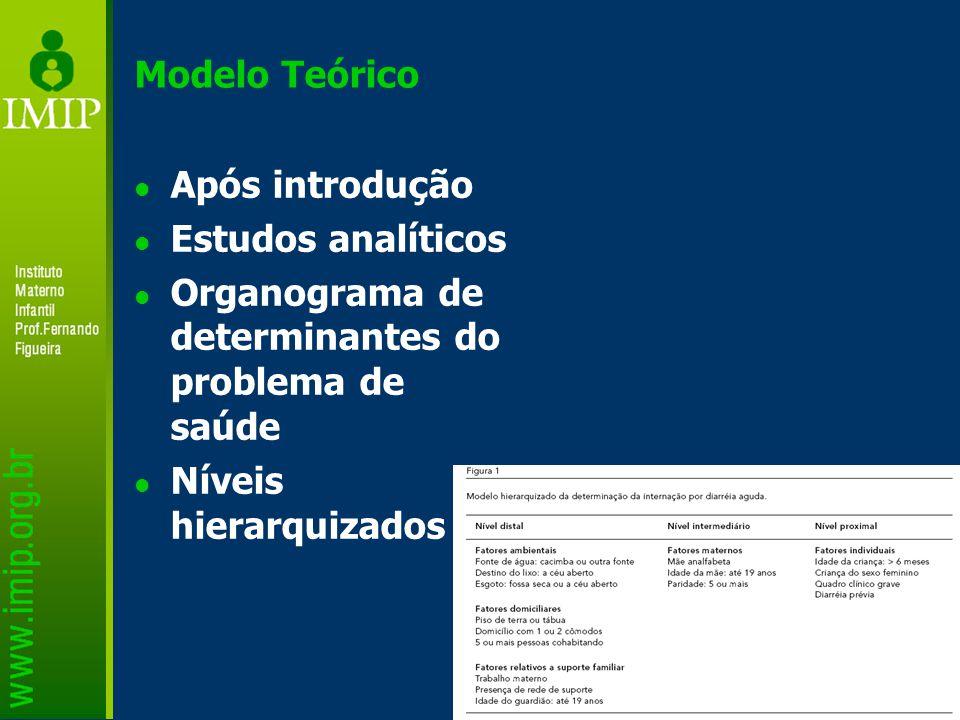 Modelo Teórico Após introdução Estudos analíticos Organograma de determinantes do problema de saúde Níveis hierarquizados