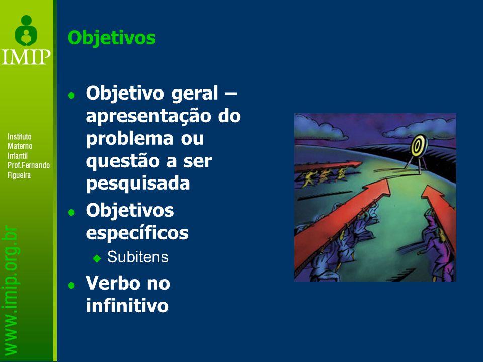 Objetivos Objetivo geral – apresentação do problema ou questão a ser pesquisada Objetivos específicos  Subitens Verbo no infinitivo