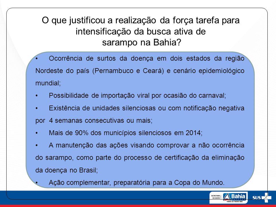 O que justificou a realização da força tarefa para intensificação da busca ativa de sarampo na Bahia? Ocorrência de surtos da doença em dois estados d
