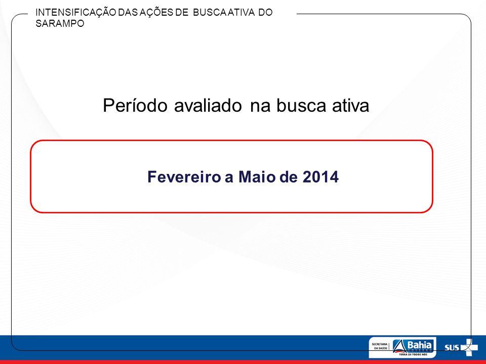 Período avaliado na busca ativa Fevereiro a Maio de 2014 INTENSIFICAÇÃO DAS AÇÕES DE BUSCA ATIVA DO SARAMPO