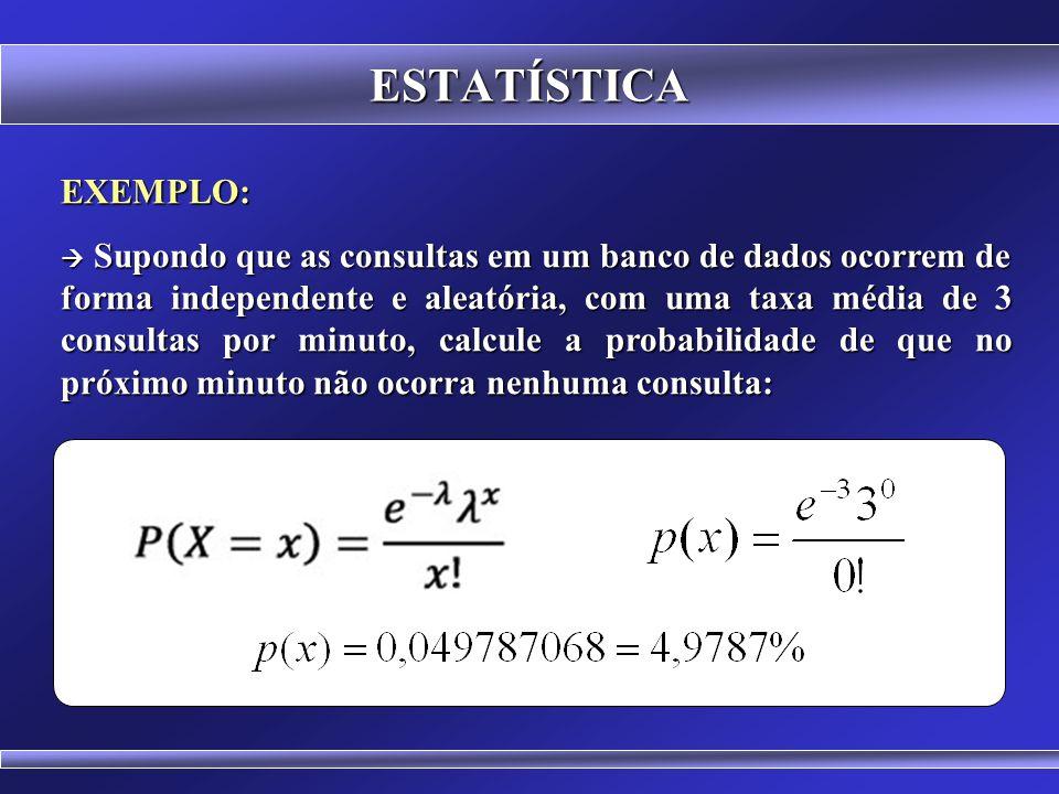 ESTATÍSTICA DISTRIBUIÇÃO DE POISSON x = número de ocorrências no intervalo λ (lambda) = número médio de ocorrências no intervalo e = 2,718 281 828 459