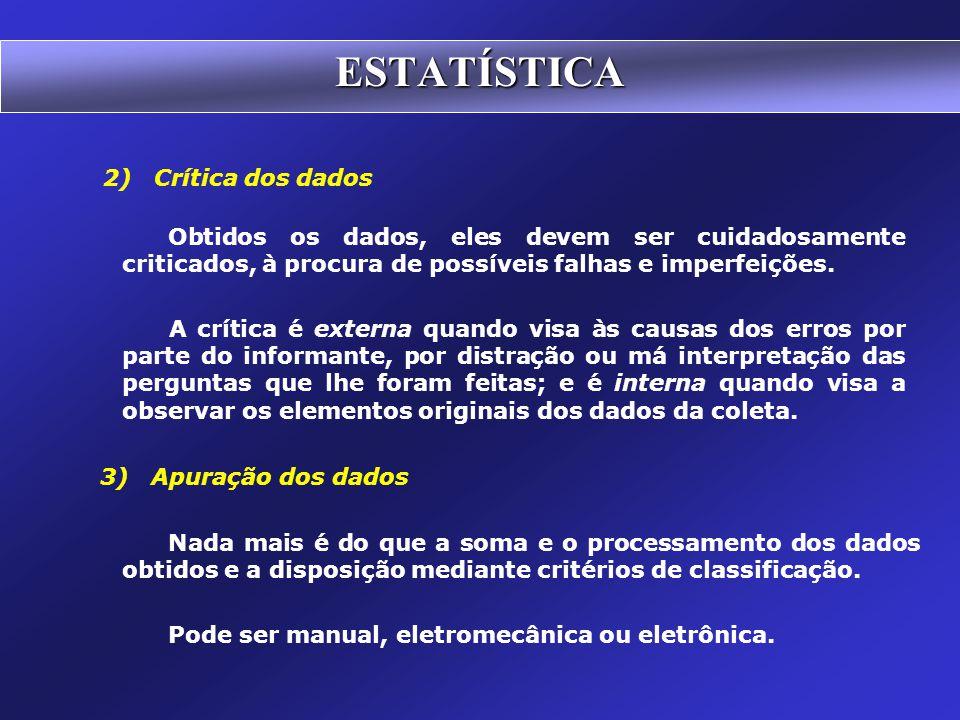 Fases do Método Estatístico 1) Coleta de dados A coleta direta de dados pode ser classificada relativamente ao fator tempo em:  contínua: quando feit