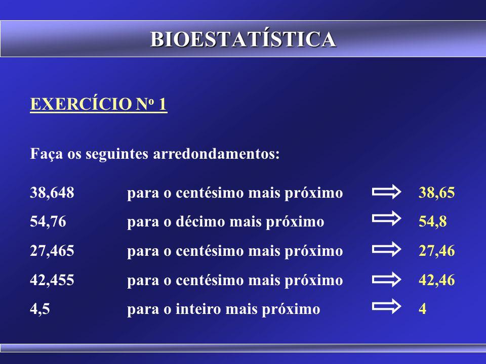 BIOESTATÍSTICA 1ª Regra: Arredondar para o número mais próximo 2ª Regra: Arredondar para o par mais próximo 5,0 5,56,0 6,06,57,0 ARREDONDAMENTO DE DAD