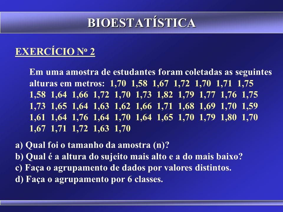 BIOESTATÍSTICA MÉTODO DE STURGES Exemplo: Se em uma pesquisa tivermos 800 observações, quantas classes podem ser formadas? Se em uma pesquisa tivermos