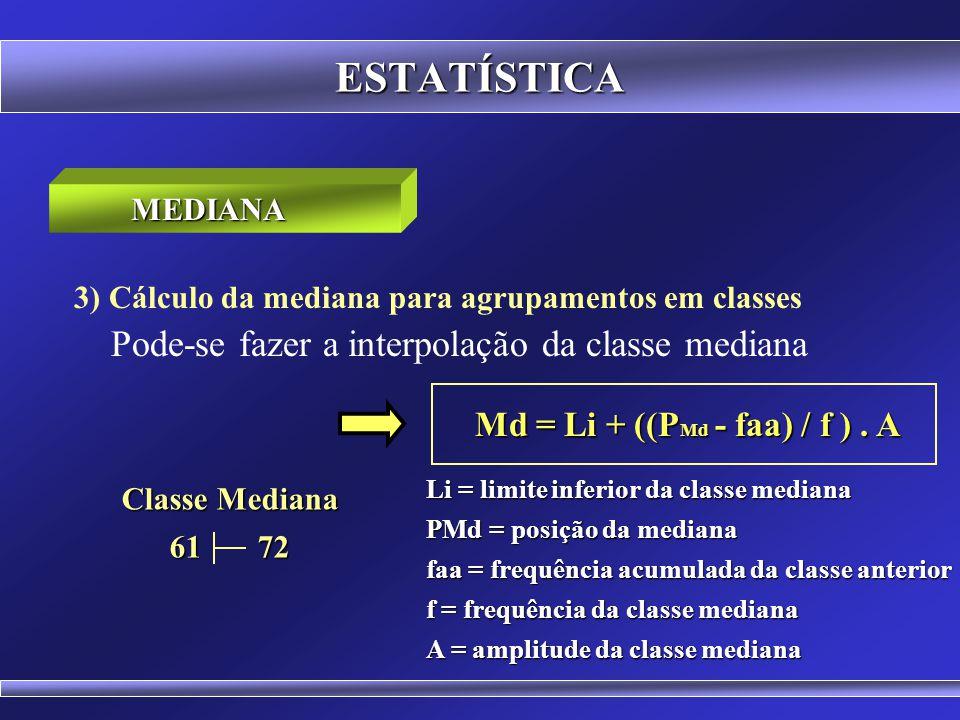 ESTATÍSTICA 3) Cálculo da mediana para agrupamentos em classes Classes f x fa 39 50 4 44,5 4 o 50 61 5 55,5 9 o 61 72 5 66,5 14 o 72 83 6 77,5 20 o 83