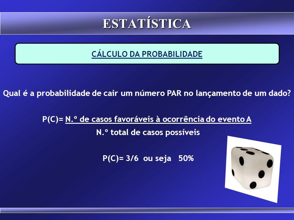 CÁLCULO DA PROBABILIDADE Qual é a probabilidade de sair o número 6 no lançamento de um dado? P(B)= N.º de casos favoráveis à ocorrência do evento A N.