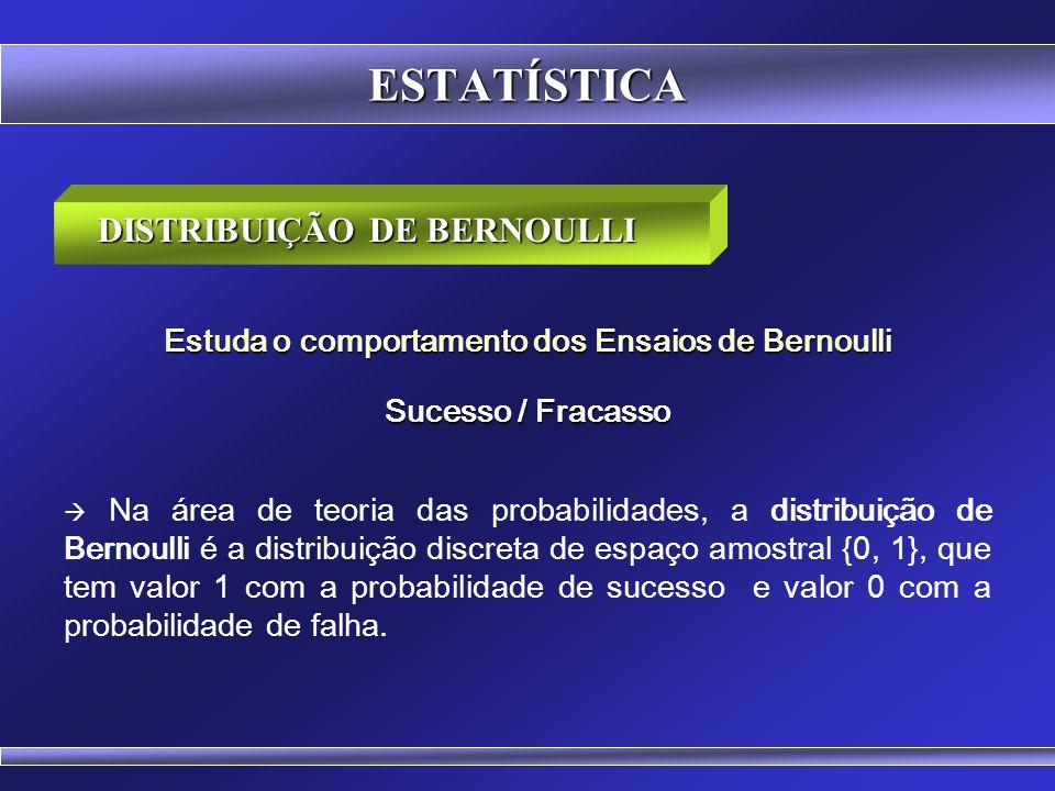 ESTATÍSTICA Jackob Benoulli (1654-1705) Jackob Benoulli (1654-1705) Foi um matemático suíço. Nascimento: 27 de dezembro de 1654 Basiléia, Suíça. Falec