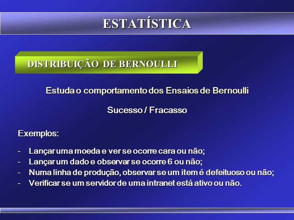 ESTATÍSTICA DISTRIBUIÇÃO DE BERNOULLI Estuda o comportamento dos Ensaios de Bernoulli Sucesso / Fracasso  Na área de teoria das probabilidades, a dis