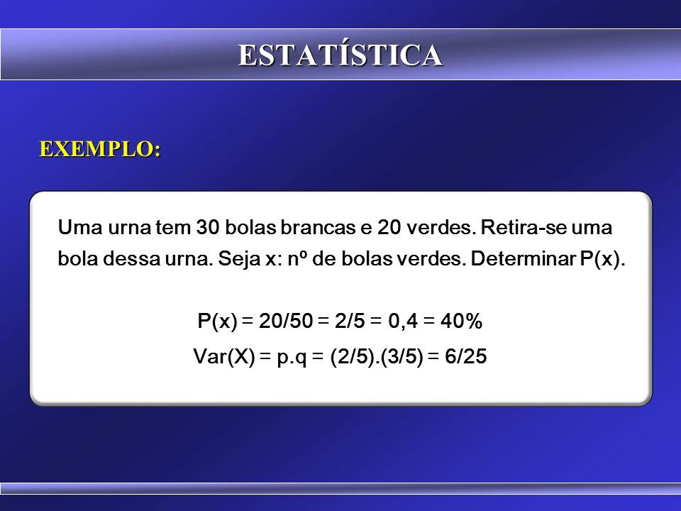 ESTATÍSTICA DISTRIBUIÇÃO DE BERNOULLI A distribuição de Bernoulli é um caso especial da Distribuição Binomial, com n=1