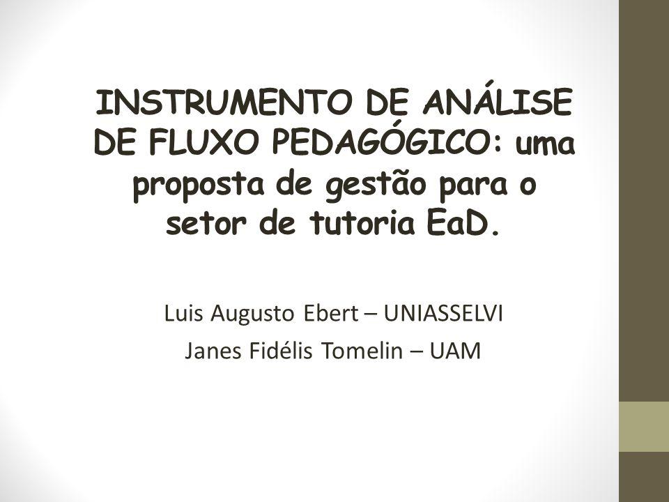 INSTRUMENTO DE ANÁLISE DE FLUXO PEDAGÓGICO: uma proposta de gestão para o setor de tutoria EaD. Luis Augusto Ebert – UNIASSELVI Janes Fidélis Tomelin