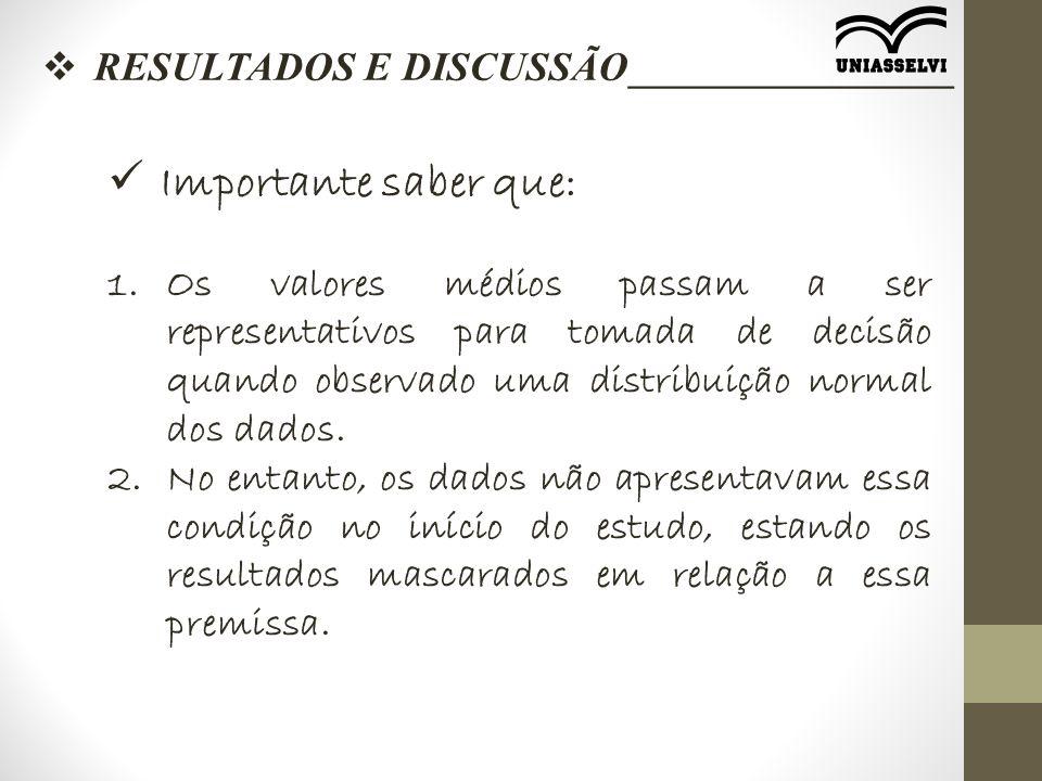 RESULTADOS E DISCUSSÃO________________ Importante saber que: 1.Os valores médios passam a ser representativos para tomada de decisão quando observad