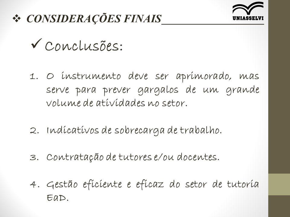  CONSIDERAÇÕES FINAIS__________________ Conclusões: 1.O instrumento deve ser aprimorado, mas serve para prever gargalos de um grande volume de ativid