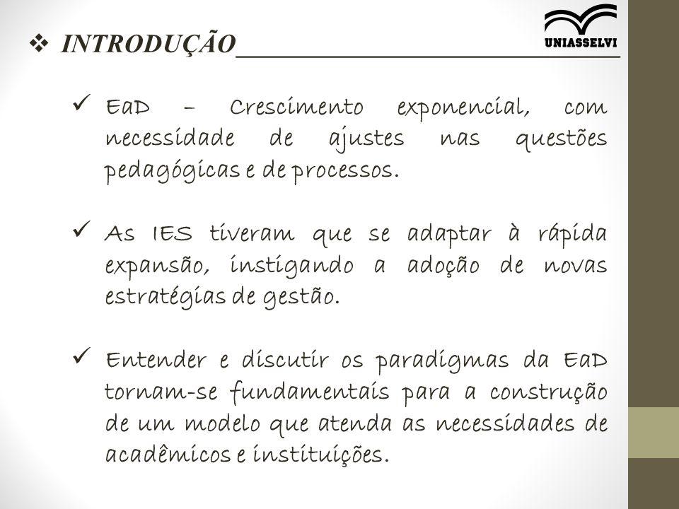 EaD – Crescimento exponencial, com necessidade de ajustes nas questões pedagógicas e de processos.