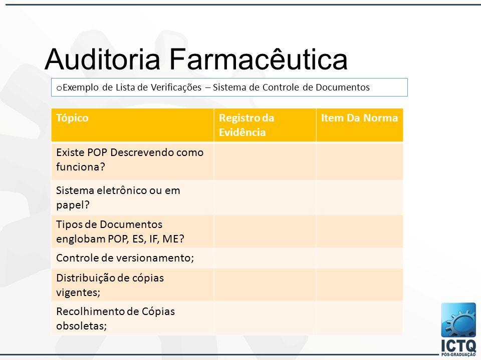 Auditoria Farmacêutica o Exemplo de Lista de Verificações – Sistema de Controle de Documentos TópicoRegistro da Evidência Item Da Norma Existe POP Descrevendo como funciona.