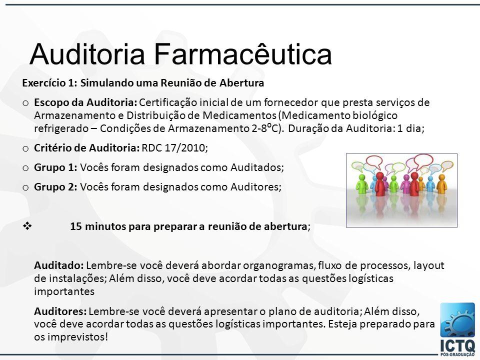 Auditoria Farmacêutica Exercício 1: Simulando uma Reunião de Abertura o Escopo da Auditoria: Certificação inicial de um fornecedor que presta serviços de Armazenamento e Distribuição de Medicamentos (Medicamento biológico refrigerado – Condições de Armazenamento 2-8⁰C).