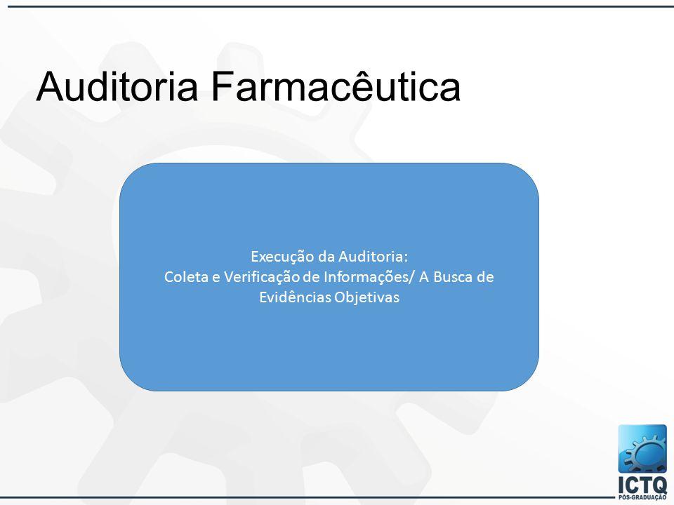 Auditoria Farmacêutica Execução da Auditoria: Coleta e Verificação de Informações/ A Busca de Evidências Objetivas
