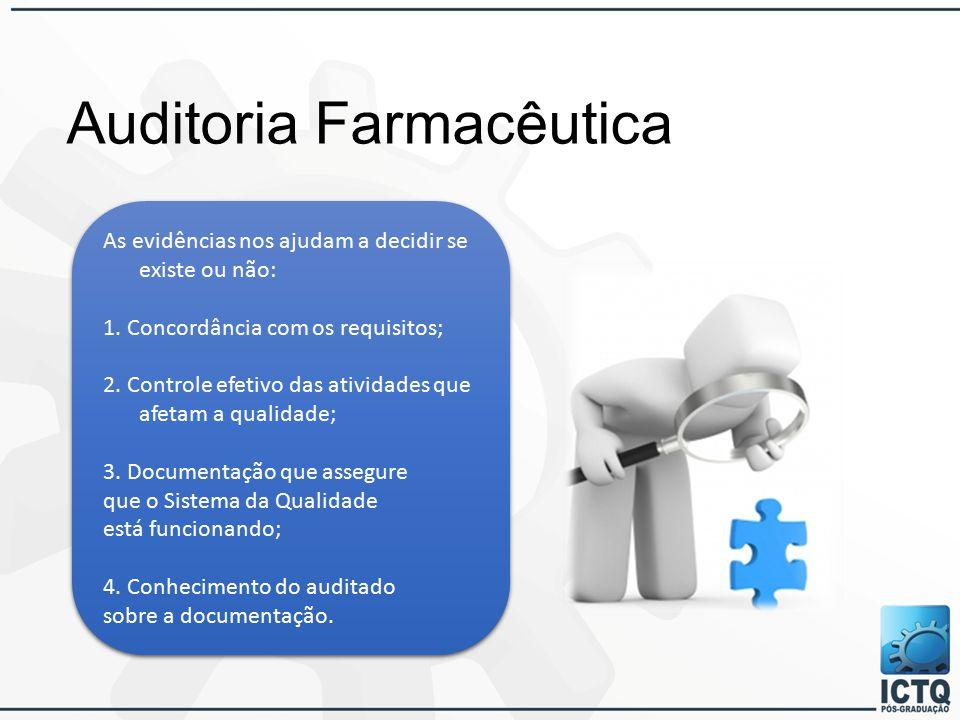 Auditoria Farmacêutica As evidências nos ajudam a decidir se existe ou não: 1.