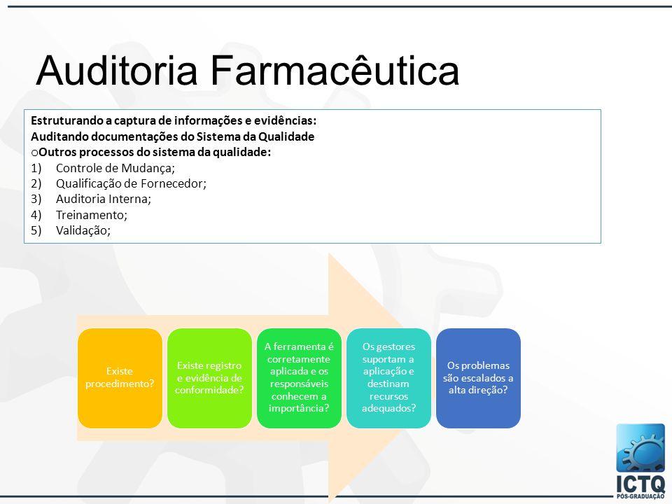 Auditoria Farmacêutica Estruturando a captura de informações e evidências: Auditando documentações do Sistema da Qualidade o Outros processos do sistema da qualidade: 1)Controle de Mudança; 2)Qualificação de Fornecedor; 3)Auditoria Interna; 4)Treinamento; 5)Validação; Existe procedimento.