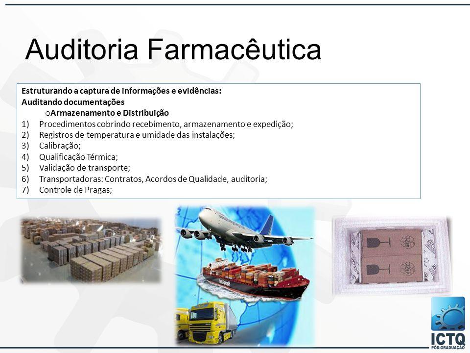 Auditoria Farmacêutica Estruturando a captura de informações e evidências: Auditando documentações o Armazenamento e Distribuição 1)Procedimentos cobrindo recebimento, armazenamento e expedição; 2)Registros de temperatura e umidade das instalações; 3)Calibração; 4)Qualificação Térmica; 5)Validação de transporte; 6)Transportadoras: Contratos, Acordos de Qualidade, auditoria; 7)Controle de Pragas;