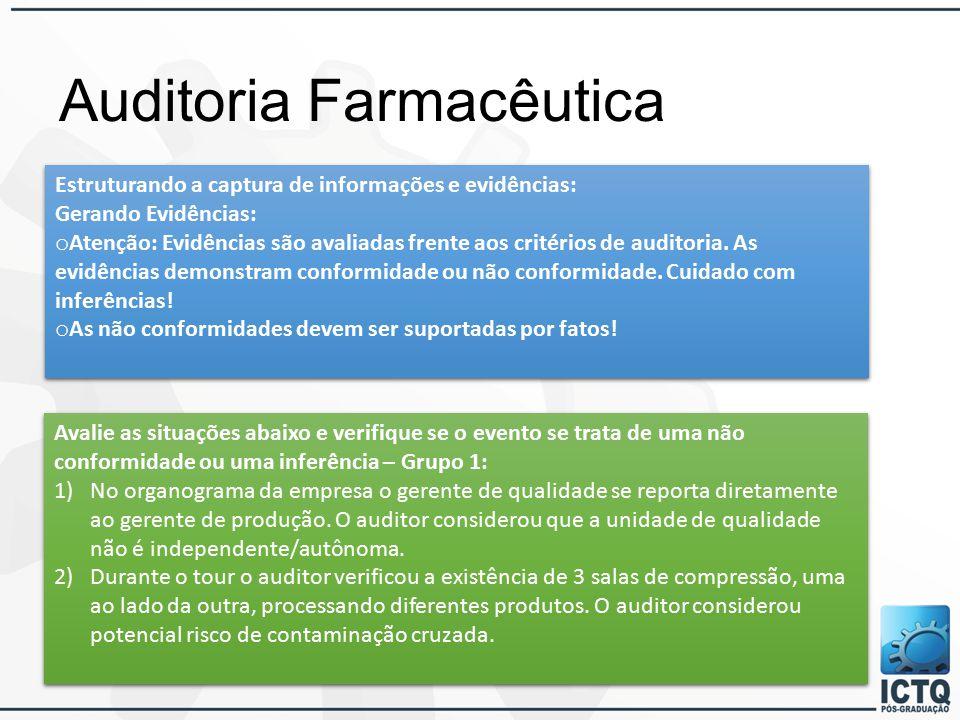 Auditoria Farmacêutica Estruturando a captura de informações e evidências: Gerando Evidências: o Atenção: Evidências são avaliadas frente aos critérios de auditoria.