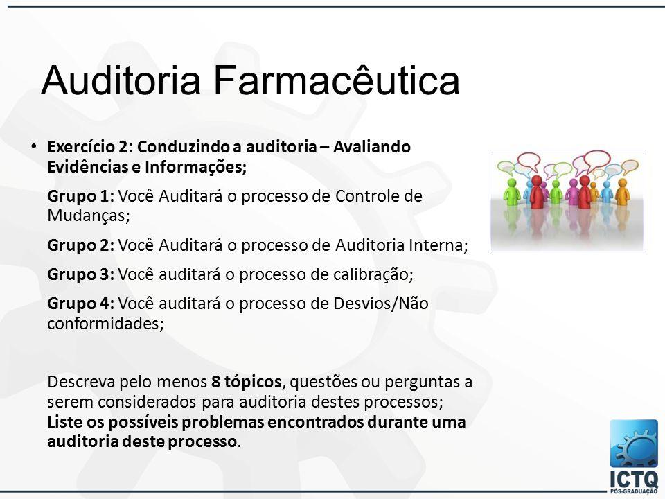 Auditoria Farmacêutica Exercício 2: Conduzindo a auditoria – Avaliando Evidências e Informações; Grupo 1: Você Auditará o processo de Controle de Mudanças; Grupo 2: Você Auditará o processo de Auditoria Interna; Grupo 3: Você auditará o processo de calibração; Grupo 4: Você auditará o processo de Desvios/Não conformidades; Descreva pelo menos 8 tópicos, questões ou perguntas a serem considerados para auditoria destes processos; Liste os possíveis problemas encontrados durante uma auditoria deste processo.