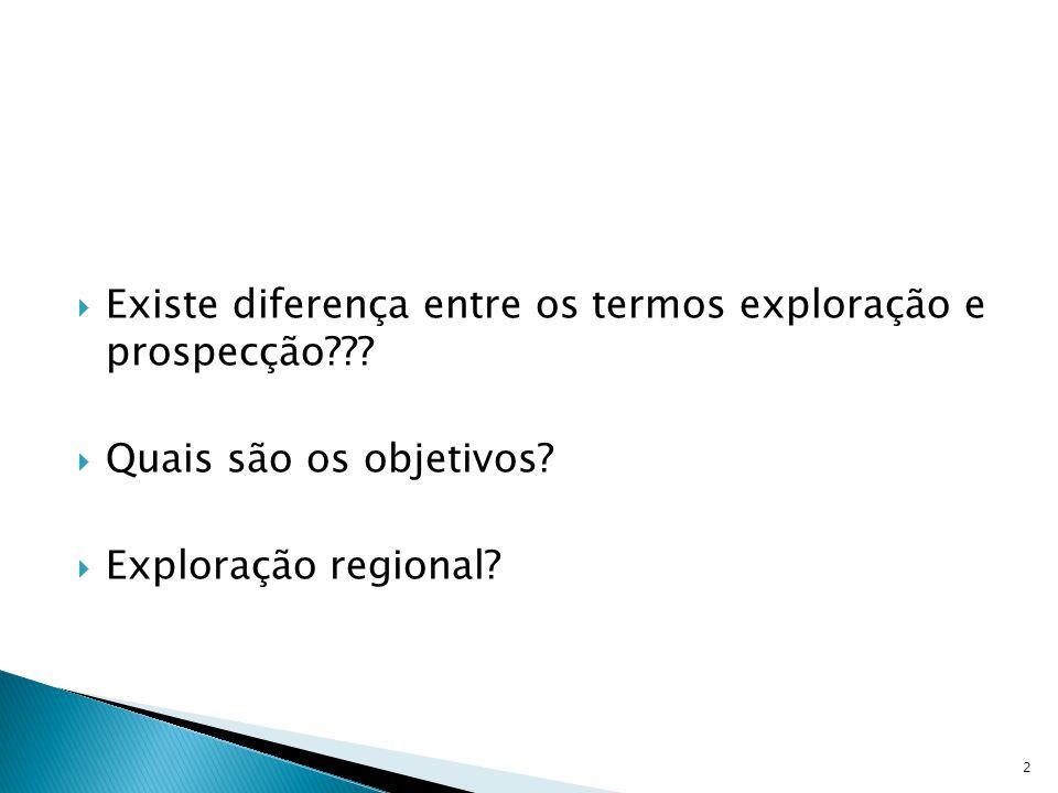  Existe diferença entre os termos exploração e prospecção???  Quais são os objetivos?  Exploração regional? 2