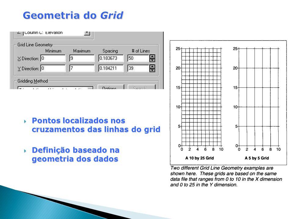  Pontos localizados nos cruzamentos das linhas do grid  Definição baseado na geometria dos dados