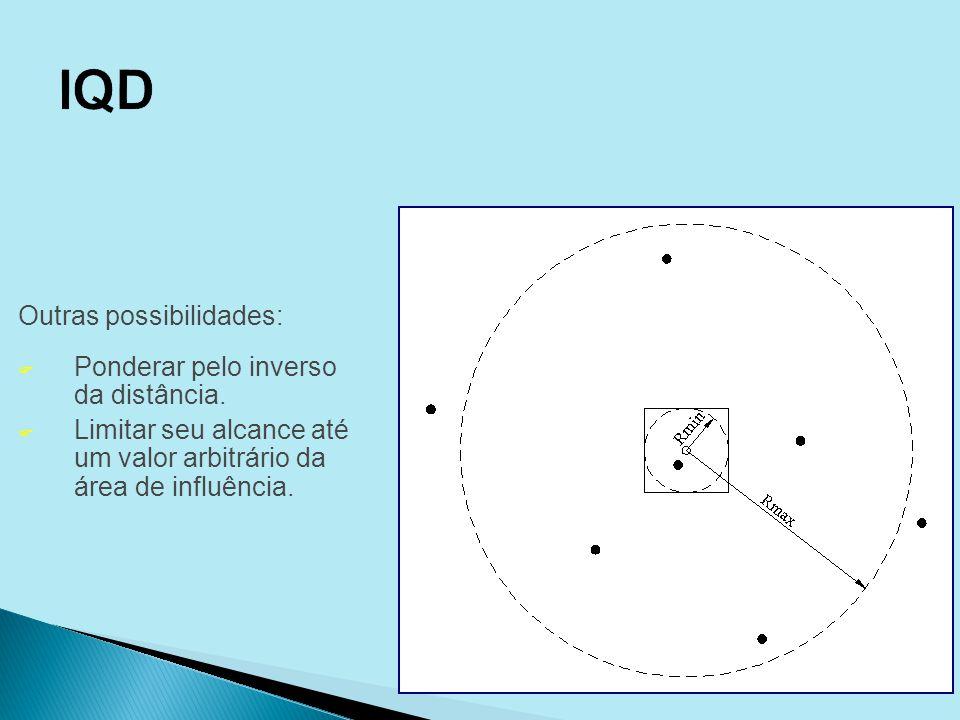 Outras possibilidades: F Ponderar pelo inverso da distância. F Limitar seu alcance até um valor arbitrário da área de influência.