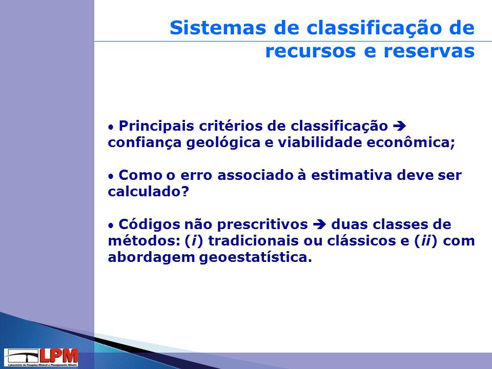 Sistemas de classificação de recursos e reservas  Principais critérios de classificação  confiança geológica e viabilidade econômica;  Como o erro