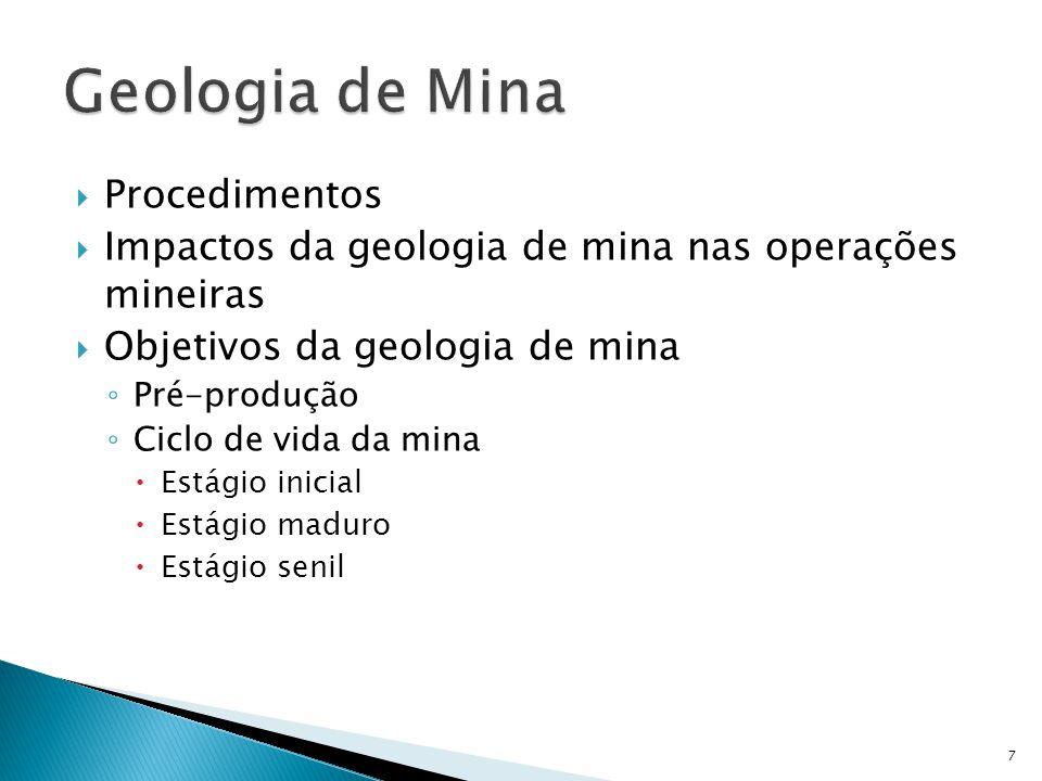  Procedimentos  Impactos da geologia de mina nas operações mineiras  Objetivos da geologia de mina ◦ Pré-produção ◦ Ciclo de vida da mina  Estágio