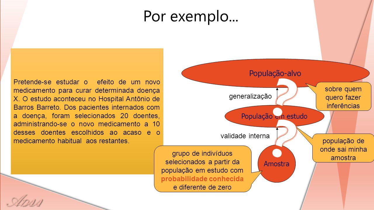 A D ss Pretende-se estudar o efeito de um novo medicamento para curar determinada doença X. O estudo aconteceu no Hospital Antônio de Barros Barreto.