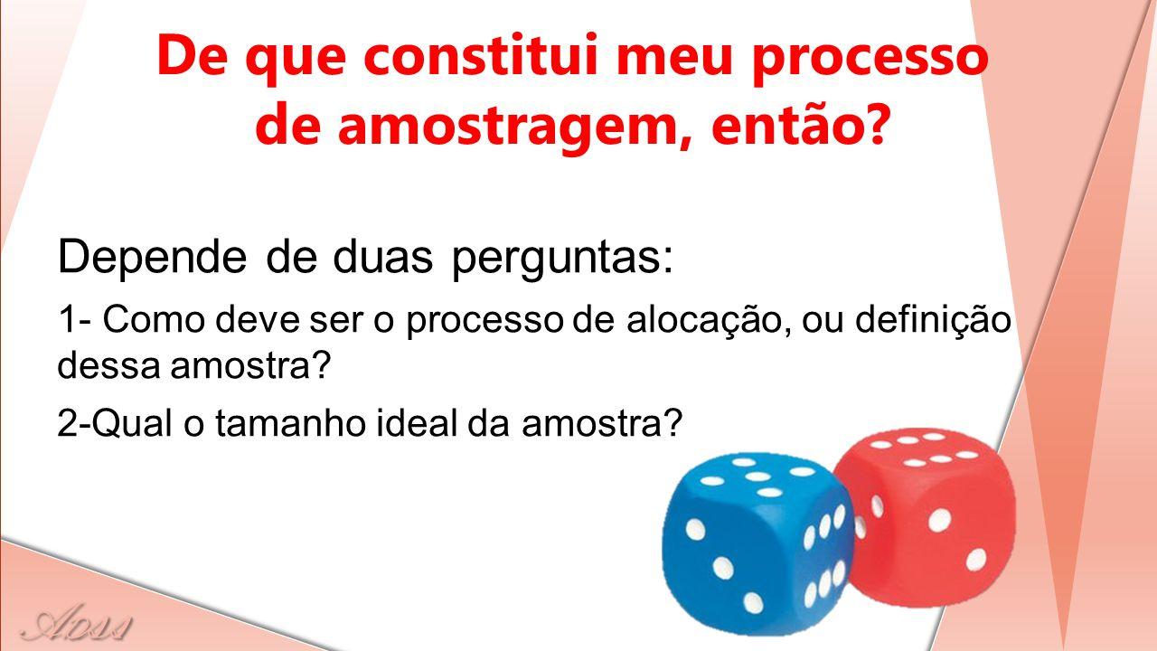 A D ss Depende de duas perguntas: 1- Como deve ser o processo de alocação, ou definição dessa amostra? 2-Qual o tamanho ideal da amostra? De que const