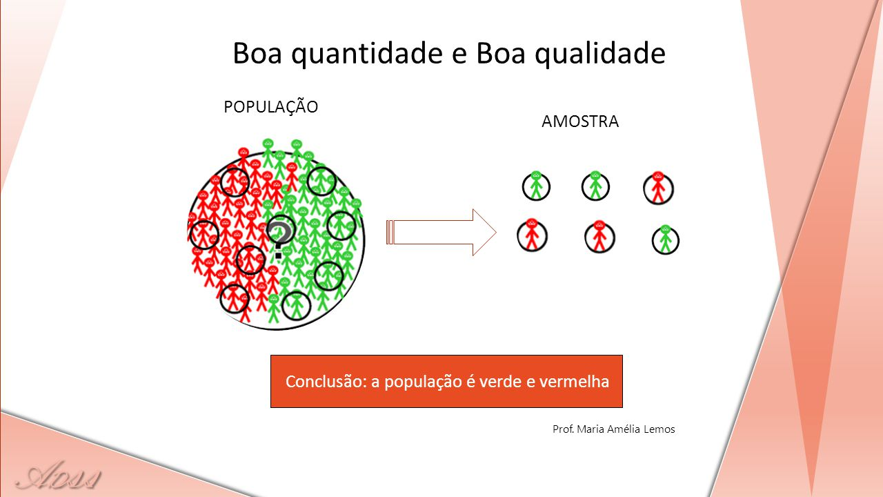 A D ss Conclusão: a população é verde e vermelha POPULAÇÃO AMOSTRA Boa quantidade e Boa qualidade Prof. Maria Amélia Lemos