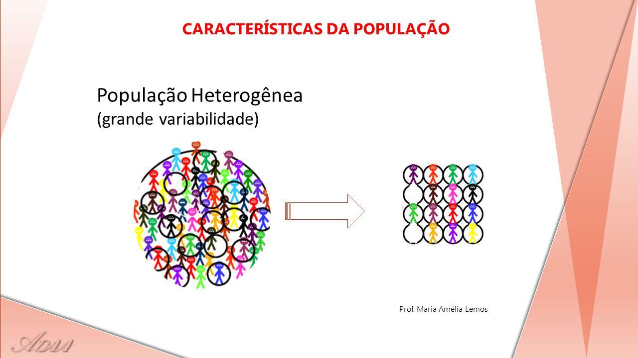 A D ss POPULAÇÃO AMOSTRA População Heterogênea (grande variabilidade) CARACTERÍSTICAS DA POPULAÇÃO Prof. Maria Amélia Lemos