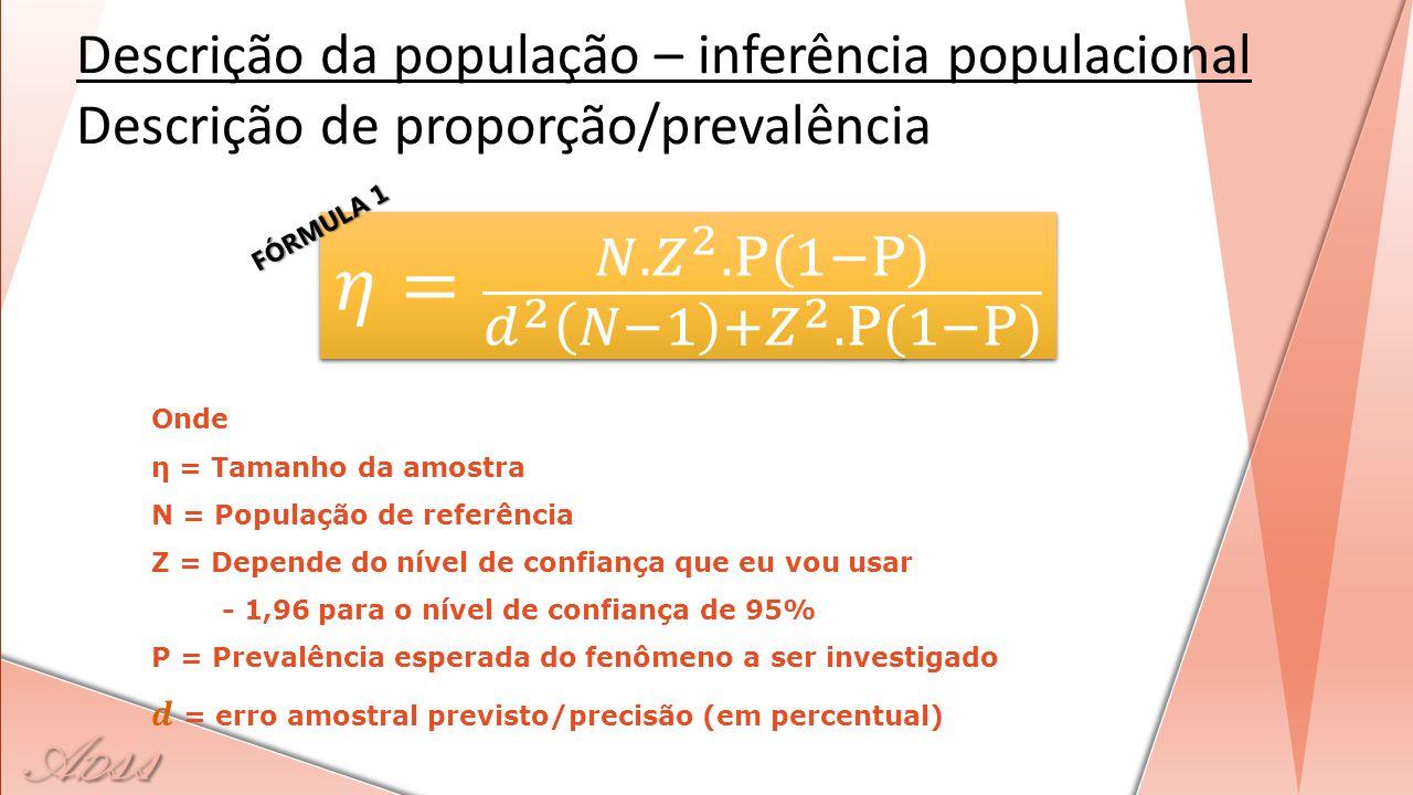 A D ss Descrição da população – inferência populacional Descrição de proporção/prevalência FÓRMULA 1